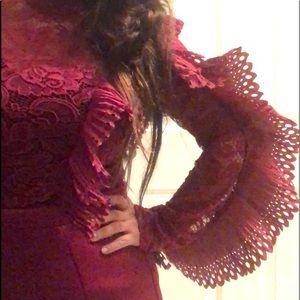 Preloved maroon dress, ruffles $20 M